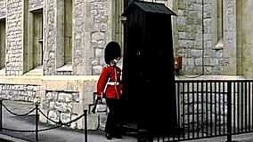 Archival Tower of London red guard marching stock video footage