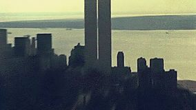 Archival Twin Towers skyline. Archival Manhattan skyline aerial view from the top of Empire State Building. with World Trade Center and Twin Towers of old New stock video footage