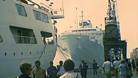 Archival Venice harbor cruise boats stock footage