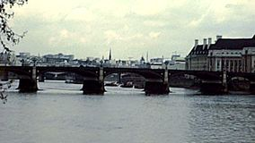 Archival Westminster Bridge in London. Westminster Bridge on River Thame. Archival of London city of England, United Kingdom in the 1970s stock video