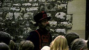 Archival Yeoman Beefeater of Tower of London castle. London, United Kingdom - Circa 1977: A Yeoman Warder of Her Majesty`s Royal Palace, member of the sovereign` stock video