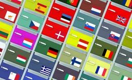 Archivalische Kästen mit EU-Markierungsfahnen Lizenzfreie Stockfotos