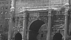 Archivalischer Bogen Settimio Severo von Rom stock footage