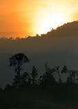 Archivbild der nebeligen Landschaft Lizenzfreies Stockfoto