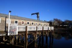 Archivbild der roten Scheune der fishermens wurde als Motiv-NO1 in Rockport, Neu-England, USA bekannt Stockbild