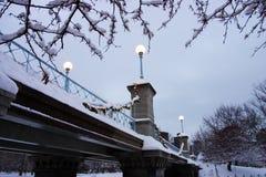 Archivbild eines schneienden Winters in Boston, Massachusetts, USA Stockbilder
