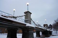 Archivbild eines schneienden Winters in Boston, Massachusetts, USA Lizenzfreie Stockfotos