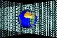 Archivbild von Erde und von binär Code stockbilder