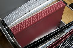 Archive. Drawers and folders to organize important documents Royalty Free Stock Photos