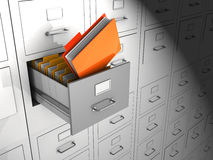 Archive. Open box with important files, 3d image Stock Photos