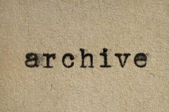 Archive. Written with an old typewriter on an aged paper stock photos