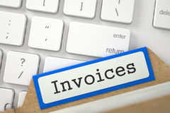 Archive Bookmarks of Card Index with Inscription Invoices. 3D. Invoices Concept. Word on Blue Folder Register of Card Index. Closeup View. Selective Focus. 3D Stock Image