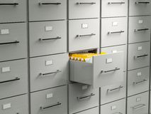 Archive cabinet. With open drawer Royalty Free Stock Images
