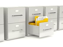 Archive cabinet with folders Stock Photo