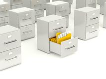 Archive cabinet with folders Royalty Free Stock Photo