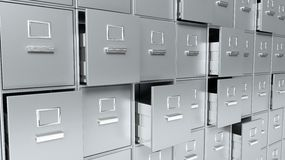 Archive cabinets 3D render. Grey Stock Photography