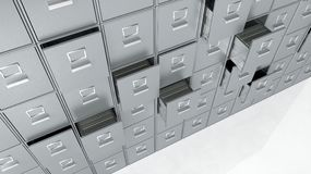 Archive cabinets. Silver archive cabinets 3D render Stock Photo