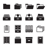Archive, document icons set. Black on a white background Royalty Free Stock Image