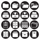 Archive, document icons set. White on a black background Royalty Free Stock Photography
