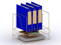 Archive documents of three blue folders on a gold stand Stock Photo