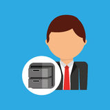 Archive file business man suit worker icon. Vector illustration eps 10 Stock Image