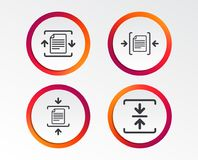 Archive file, compressed zipped document. Archive file icons. Compressed zipped document signs. Data compression symbols. Infographic design buttons. Circle Stock Images