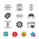 Archive file, compressed zipped document. Archive file icons. Compressed zipped document signs. Data compression symbols. Browser window, Report and Service Royalty Free Stock Photos