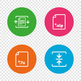 Archive file, compressed zipped document. Archive file icons. Compressed zipped document signs. Data compression symbols. Round buttons on transparent Royalty Free Stock Image