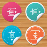 Archive file, compressed zipped document. Round stickers or website banners. Archive file icons. Compressed zipped document signs. Data compression symbols Royalty Free Stock Photos
