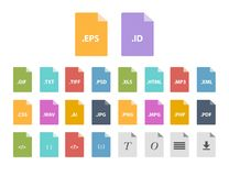 Archive file formats. Compressed folder file type icons Royalty Free Stock Photography