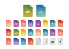 Archive file formats. Compressed folder file type icons Stock Image