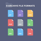 Archive File Formats. Compressed folder file type icons Royalty Free Stock Photos