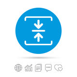 Archive file icon. Compressed zipped file. Archive file sign icon. Compressed zipped file symbol. Arrows. Copy files, chat speech bubble and chart web icons Stock Image
