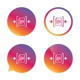 Archive file icon. Compressed zipped file. Archive file sign icon. Compressed zipped file symbol. Arrows. Gradient buttons with flat icon. Speech bubble sign Royalty Free Stock Photography