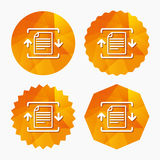 Archive file icon. Compressed zipped file. Archive file sign icon. Compressed zipped file symbol. Arrows. Triangular low poly buttons with flat icon. Vector Stock Image