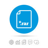 Archive file icon. Download RAR button. Archive file icon. Download compressed file button. RAR zipped file extension symbol. Copy files, chat speech bubble and Stock Photography