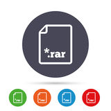 Archive file icon. Download RAR button. Archive file icon. Download compressed file button. RAR zipped file extension symbol. Round colourful buttons with flat Stock Photo