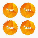 Archive file icon. Download RAR button. Archive file icon. Download compressed file button. RAR zipped file extension symbol. Triangular low poly buttons with Royalty Free Stock Image