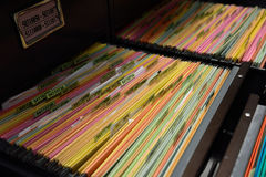 Archive files. File folders in a filing cabinet,For document storage Royalty Free Stock Photos