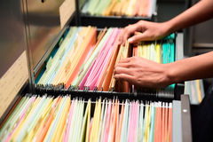 Archive files. File folders in a filing cabinet,For document storage Stock Photo
