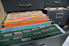 Archive files. File folders in a filing cabinet,For document storage Stock Image