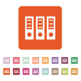 The archive folder icon. Document and data, portfolio, office symbol. Flat. Vector illustration. Button Set Royalty Free Stock Image