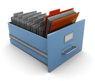 Archive folders. 3d illustration of archive box with folders, one selected vector illustration