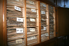 Archive. Folders with the archival material in the cabinets Stock Photo