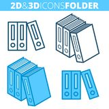 The archive folders. Flat and isometric 3d outline icon set. The office supply and stationery line pictogram collection. Vector linear infographic elements for Stock Photography