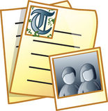 Archive Icon or symbol. Icon of a an old manuscript and photo Royalty Free Stock Photography
