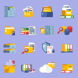 Archive Icons Set. With information storage symbols flat isolated vector illustration Royalty Free Stock Photo