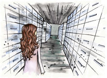 Archive illustration with little girl inside. Archive. Little girl standing in the archive with drawers all around. Hand drawn illustration. Watercolor painting Stock Photography