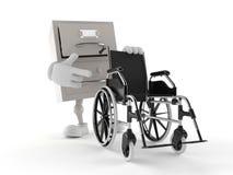 Archive le caractère avec le fauteuil roulant illustration libre de droits