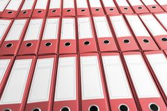 Archive with many binders on shelf. Business administration stock images